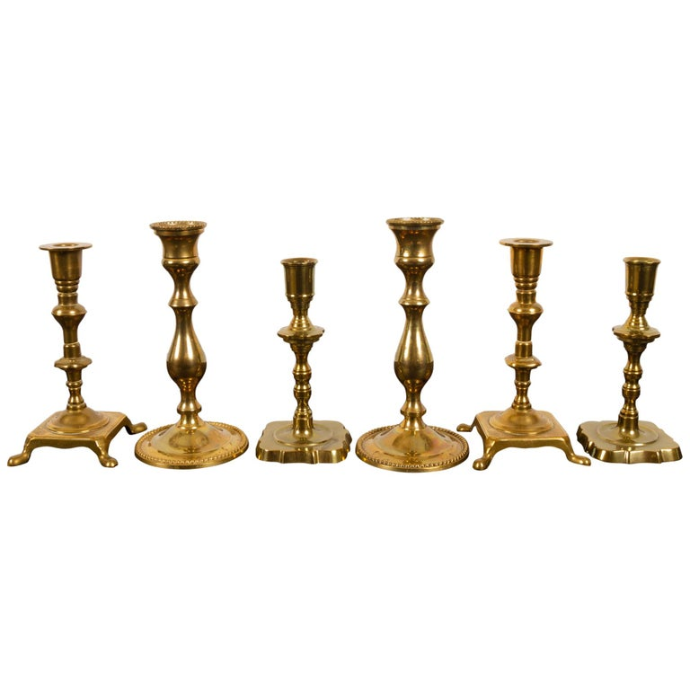 Brass Candleholders, 19th Century, Set of 6 For Sale