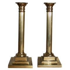 Brass Candle Holders Column-Shaped Grand Tour Style,Set