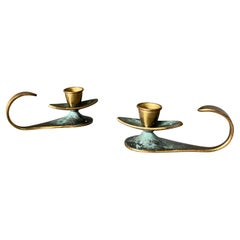Brass Candle Holders Made in Israel, circa 1960
