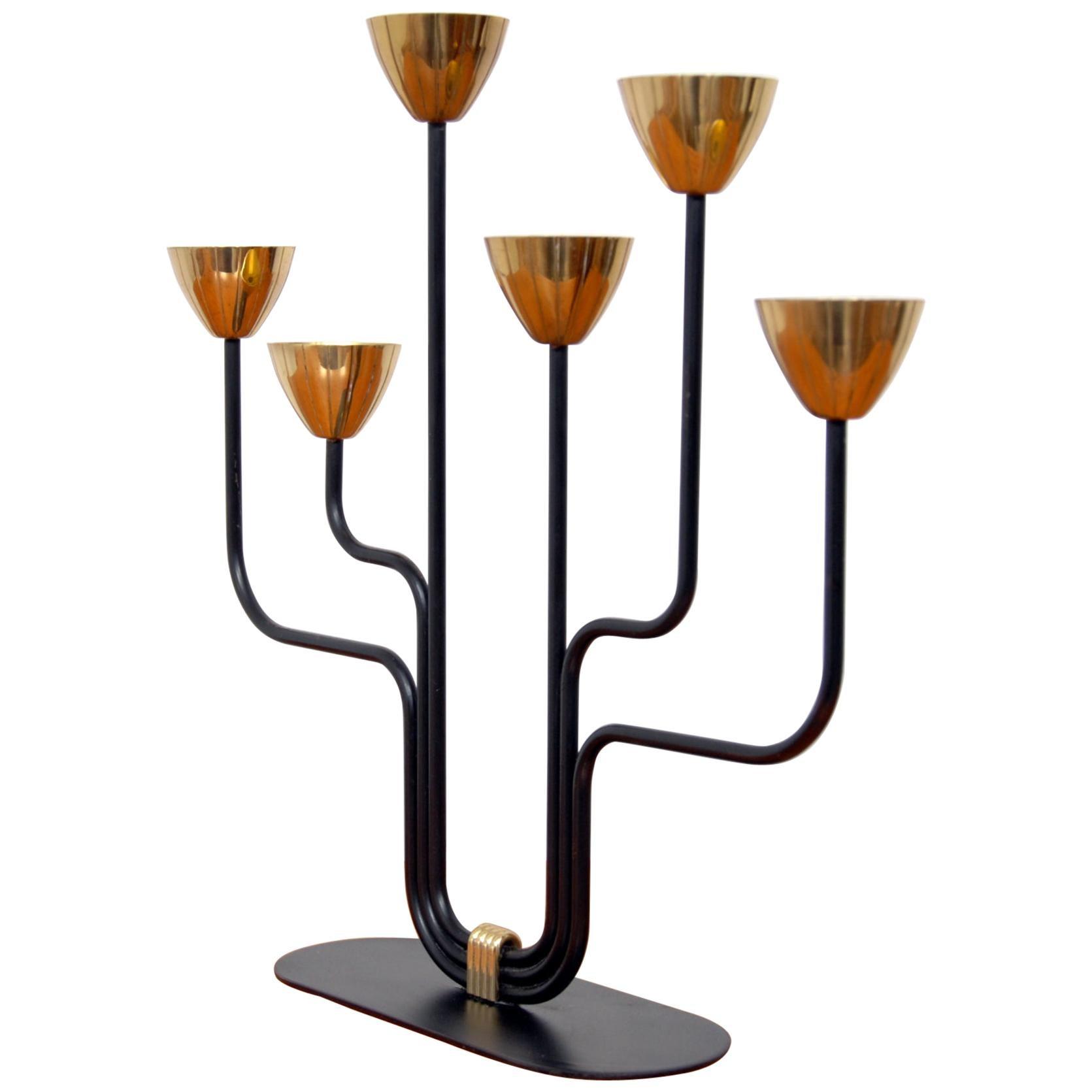 Brass Candleholder by Gunnar Ander for Ystad Metall, Sweden