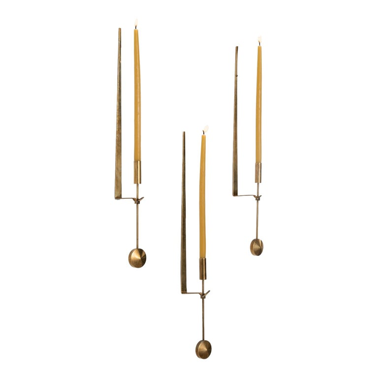 Brass Candleholder by Pierre Forsell, Sweden, circa 1970 For Sale