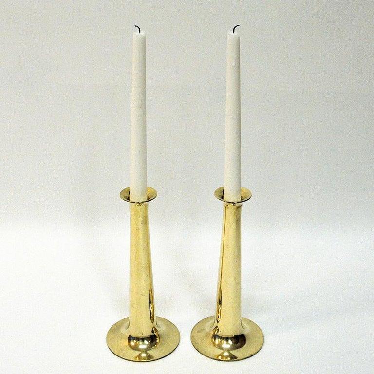 Scandinavian Modern Brass Candleholder Pair by Hans Bølling for Torben Ørskov & Co, Denmark, 1950s For Sale
