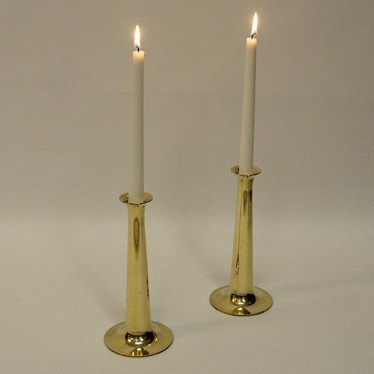 Mid-20th Century Brass Candleholder Pair by Hans Bølling for Torben Ørskov & Co, Denmark, 1950s For Sale