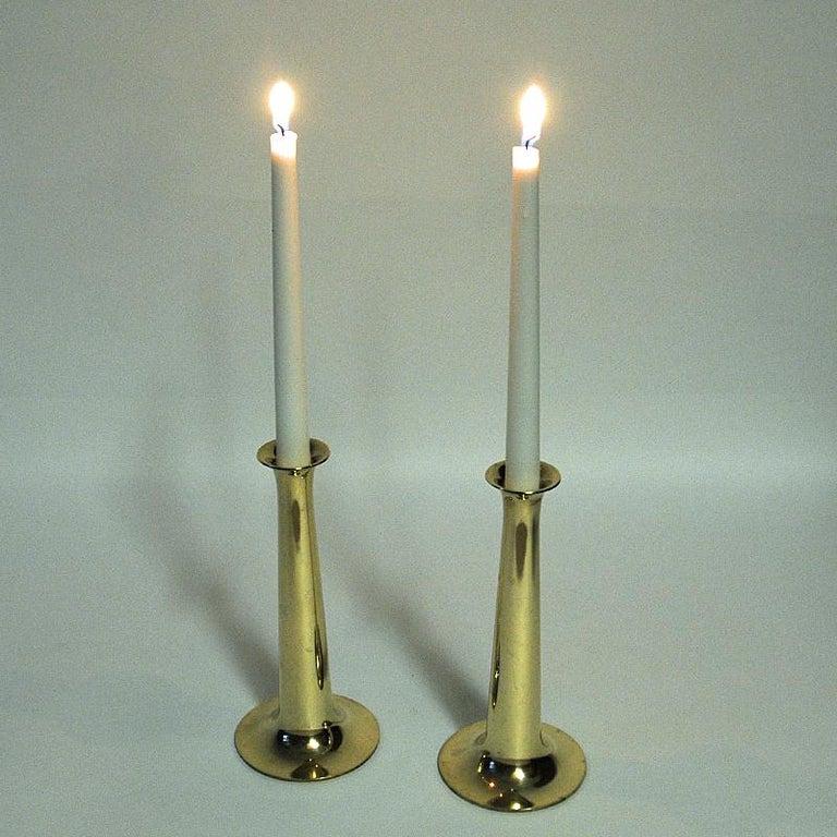 Brass Candleholder Pair by Hans Bølling for Torben Ørskov & Co, Denmark, 1950s For Sale 1