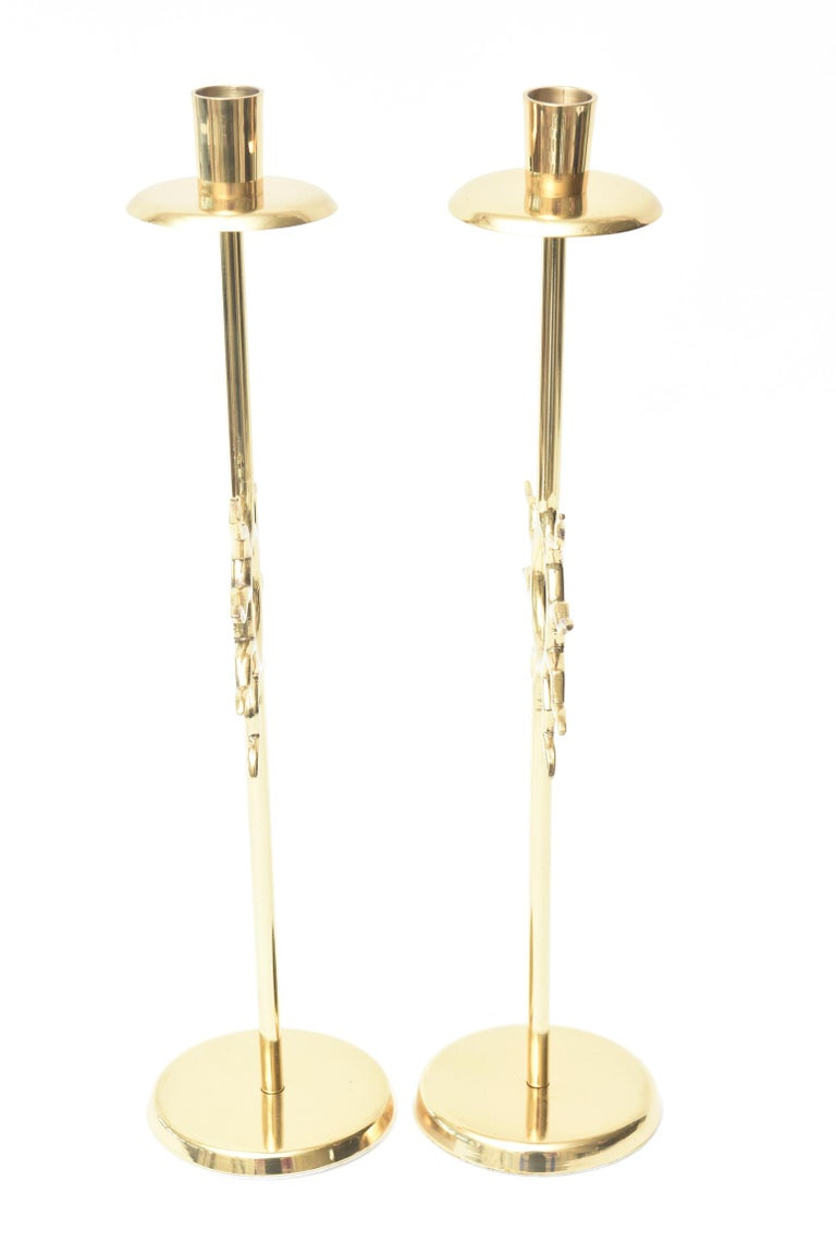 Brass Candlesticks with Sun Motif Fornasetti Style Vintage For Sale 2