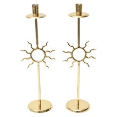 Brass Candlesticks with Sun Motif Fornasetti Style Vintage