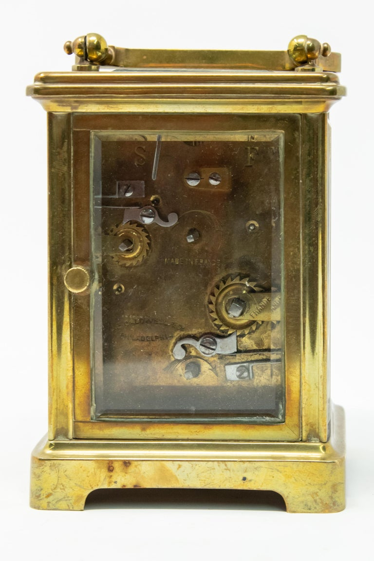 Brass Carriage Clock by J. E.Caldwell & Co. For Sale 3