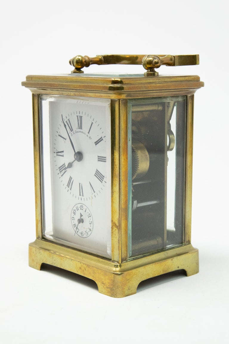 American Classical Brass Carriage Clock by J. E.Caldwell & Co. For Sale