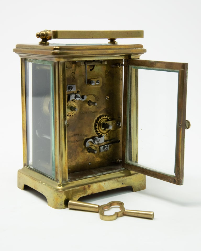 Fired Brass Carriage Clock by J. E.Caldwell & Co. For Sale