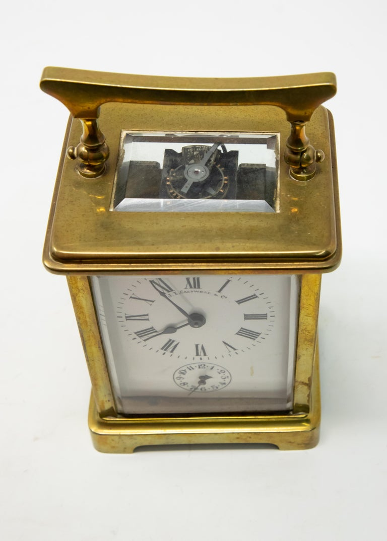 Brass Carriage Clock by J. E.Caldwell & Co. For Sale 2