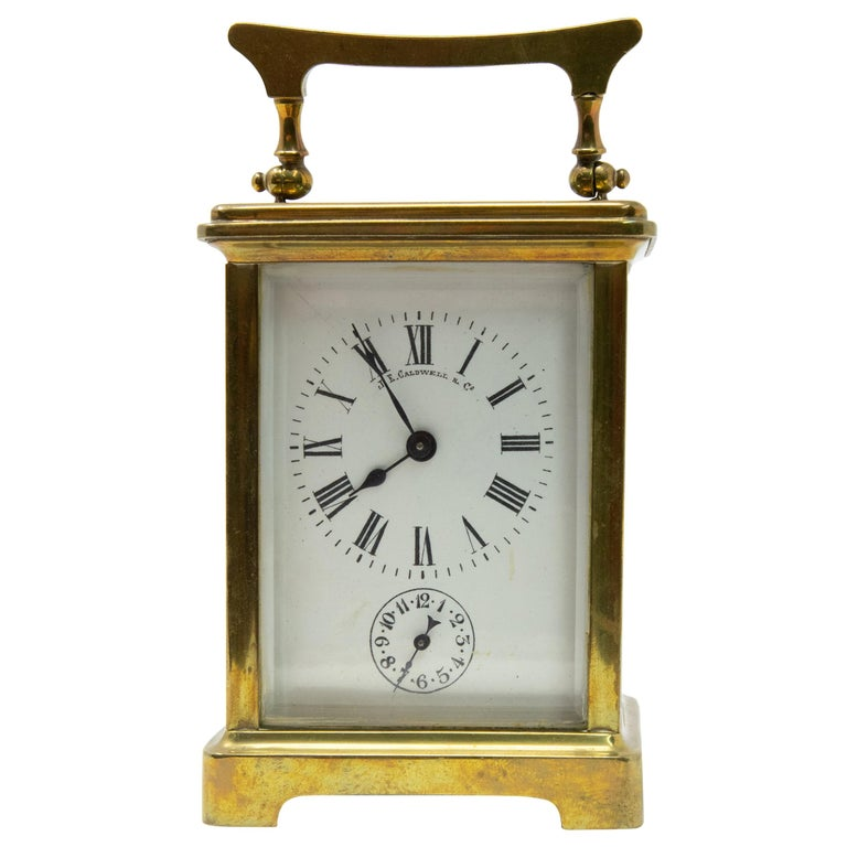 Brass Carriage Clock by J. E.Caldwell & Co. For Sale