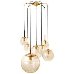 Brass Cascade with Seven Hand Blown Globes by Glashütte Limburg