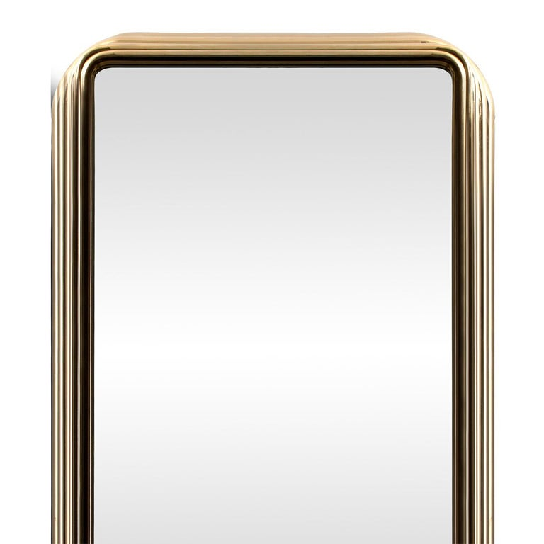 Hand-Crafted Brass Case Cabinet in Solid Walnut Root and Gold Plated Brass For Sale