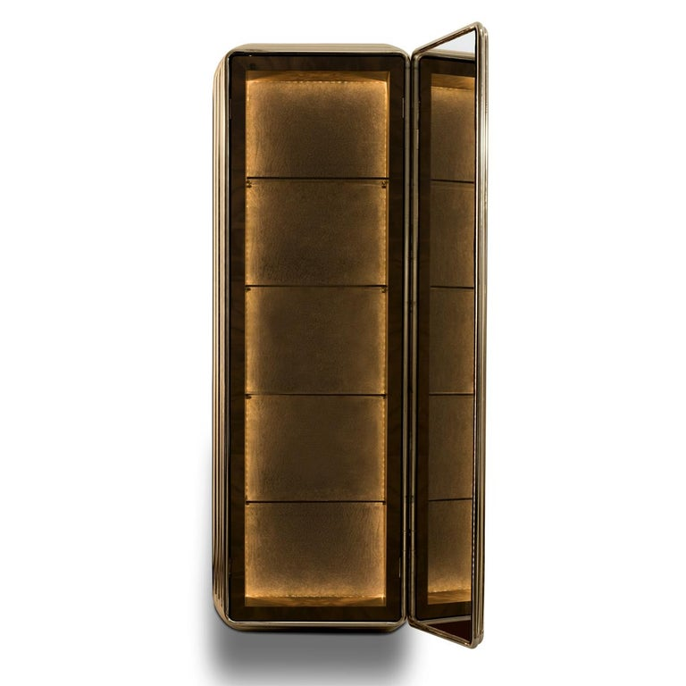 Contemporary Brass Case Cabinet in Solid Walnut Root and Gold Plated Brass For Sale