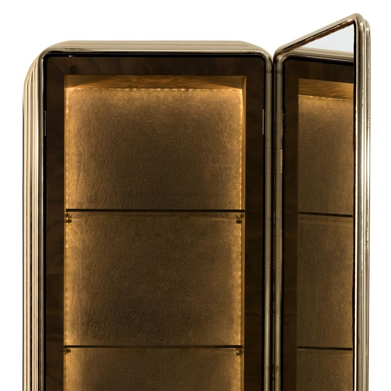 Brass Case Cabinet in Solid Walnut Root and Gold Plated Brass For Sale 1