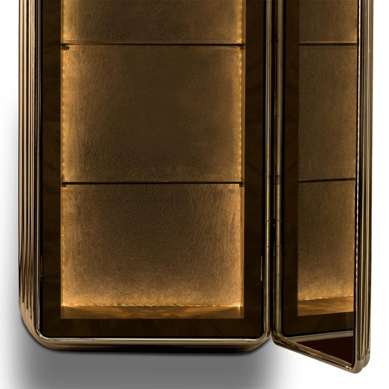 Brass Case Cabinet in Solid Walnut Root and Gold Plated Brass For Sale 2