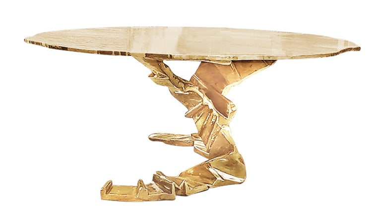 Brass Cast Sculpture Dining / Foyer Table, Phoenix In New Condition For Sale In New York City, NY