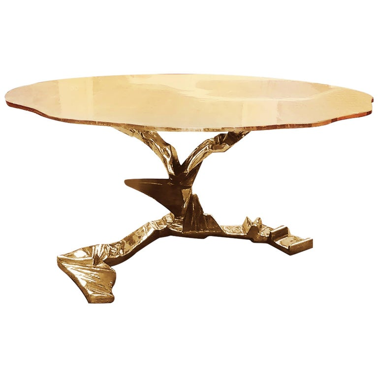 Brass Cast Sculpture Dining / Foyer Table, Phoenix For Sale