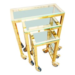 Brass Casters Nesting Tables, Italy, 1970s