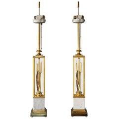 Brass Catttails Lamp