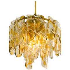 "Brass Cear and Amber Spiral Glass ""Torciglione"" Chandelier by Mazzega, 1970"