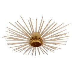 Brass Ceiling Fixture Featuring Multitudes of Gold Infused Glass Rays