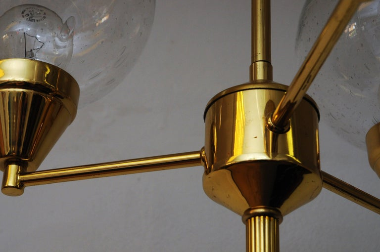 Mid-20th Century Brass Ceiling Lamp with Three Clear Glass Domes 1960s, Sweden For Sale