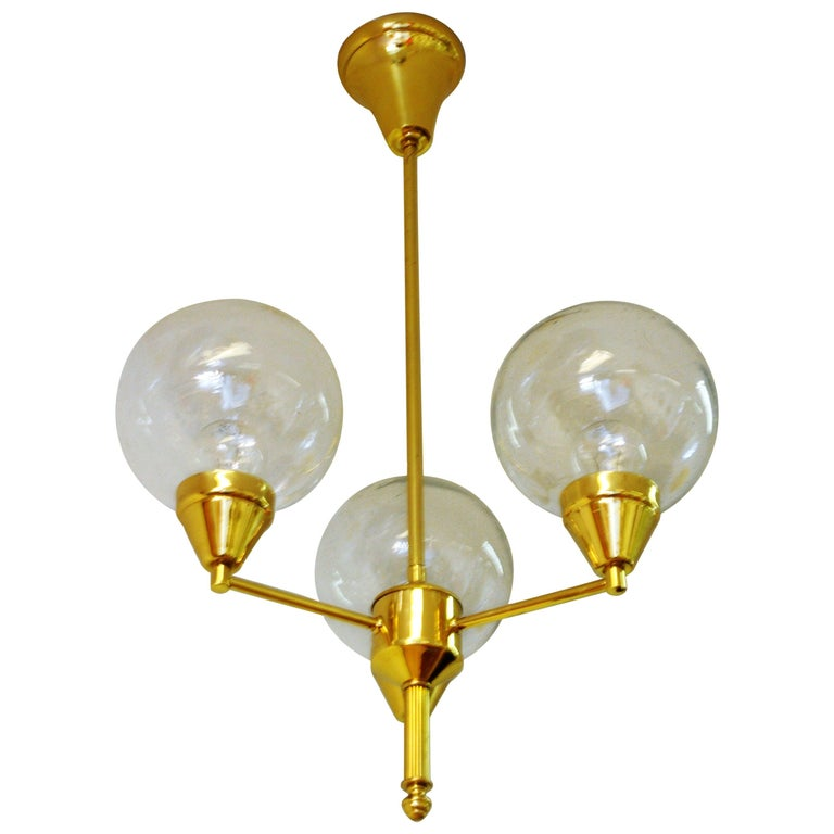 Brass Ceiling Lamp with Three Clear Glass Domes 1960s, Sweden For Sale