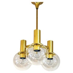 Brass Ceiling Lamp with Three Downwards Glass Domes, 1960s, Sweden