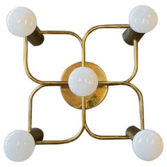Brass Ceiling or Wall Lamp, Chandelier, France, 1960s
