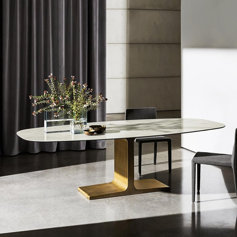 Modern In Stock in Los Angeles, Brass / Ceramic Dining Table by Lievore Altherr Molina For Sale