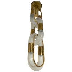 Brass Chain Chandelier Murano Glass by Aldo Nason for Mazzega, Italy, 1970s