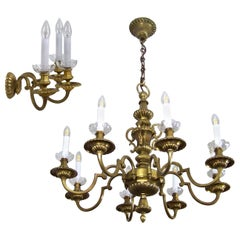 Brass Chandelier and Wall Light, 84x120cm, circa 1900