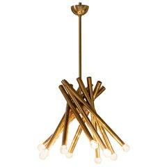 Brass Chandelier Attributed to Stilnovo