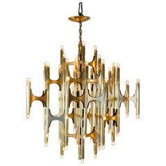 Brass Chandelier by Gaetano Sciolari, Very Large Rare 54 Light Version