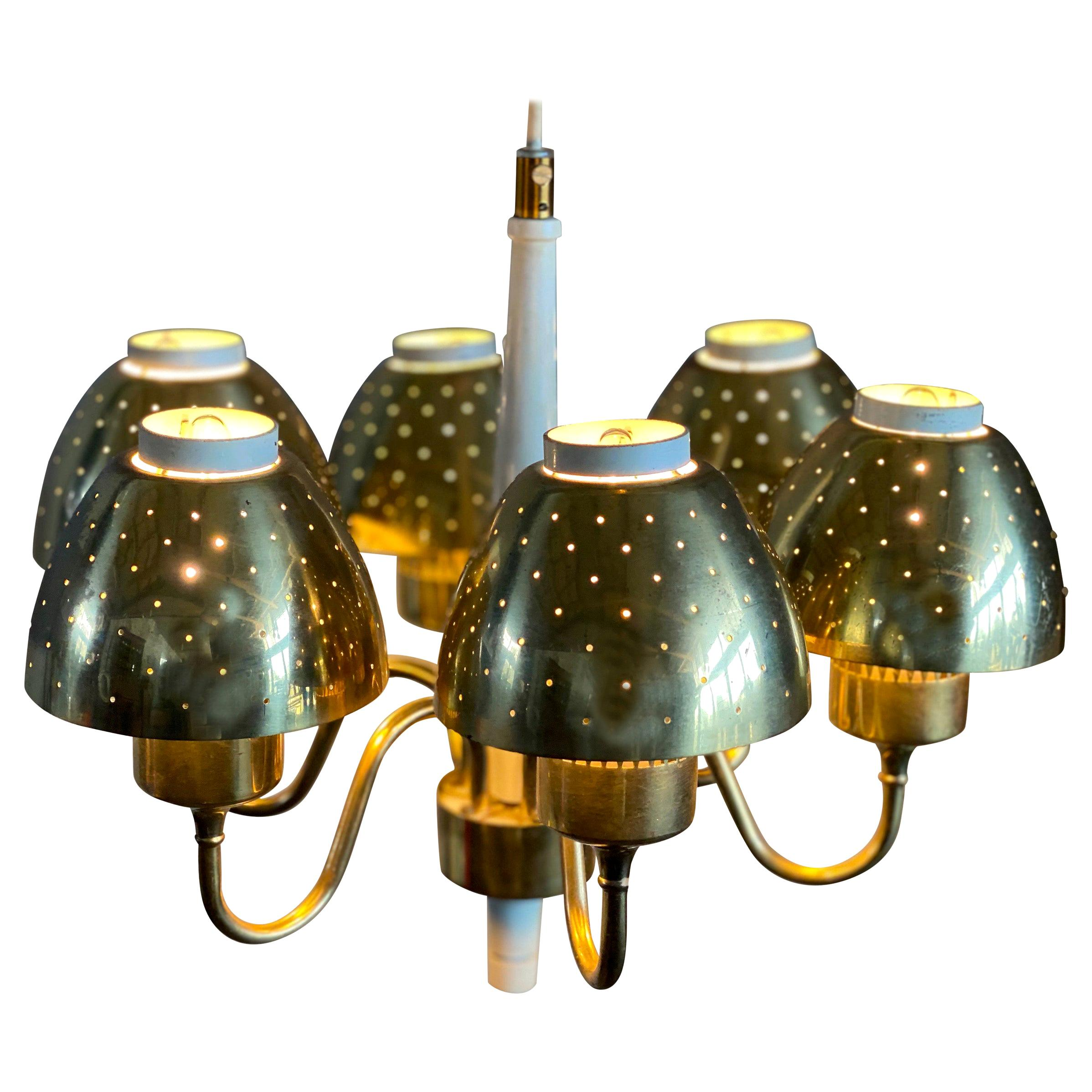 Brass Chandelier by Hans-Agne Jakobsson, Sweden, 1960s