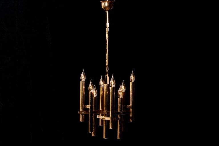 Brass Chandelier by Sciolari, 1960s In Good Condition For Sale In Silvolde, Gelderland
