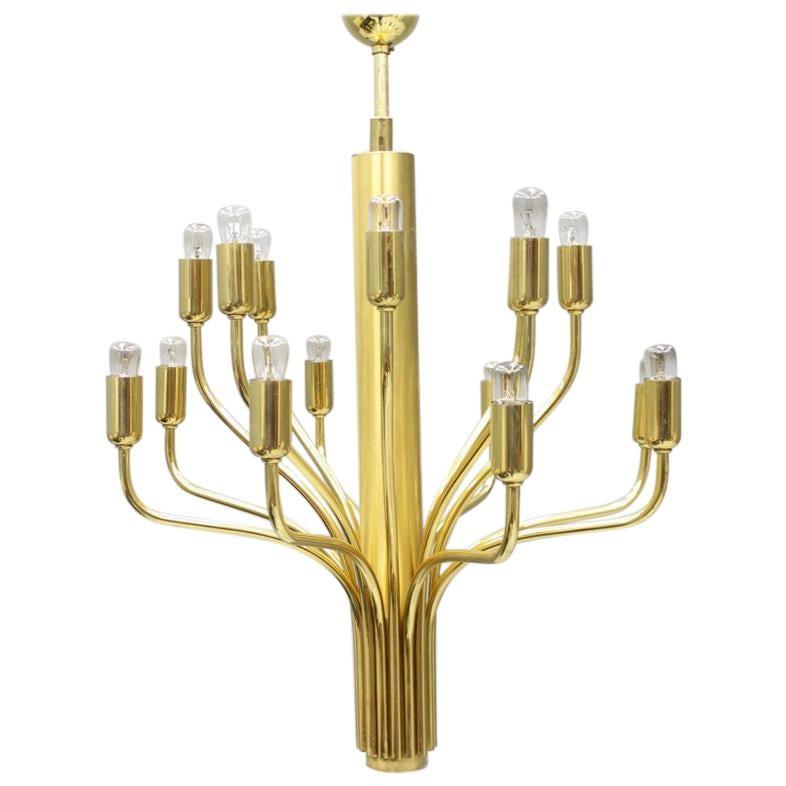 Brass Chandelier by WKR Germany 1960s Lamp