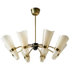 Brass Chandelier, circa 1960, Ivory Enameled Glass Shades