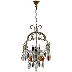 Brass Chandelier Made Out of Cut Crystal Glasses