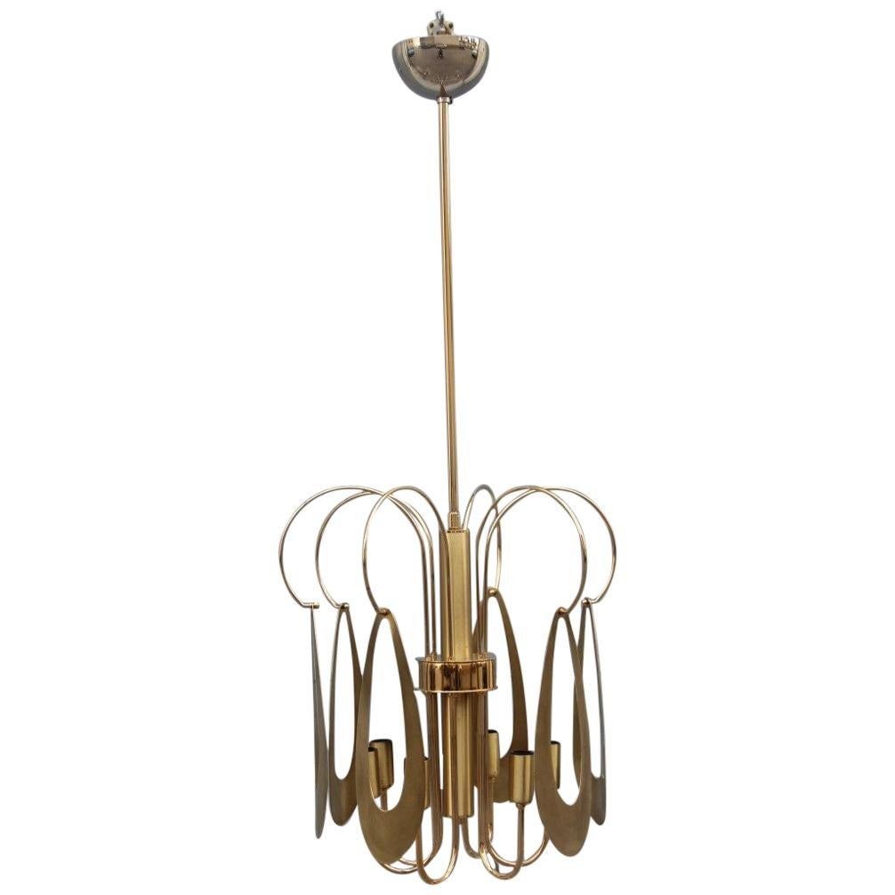 Brass Chandelier Round Brass Gold Italian Design Sculptural Minimal, 1970