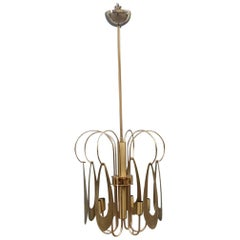 Brass Chandelier Round Brass Gold Italian Design Sculptural Minimal, 1970