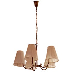 Brass Chandelier with 5 Arms and Silk Shades in Hollywood Regency Style