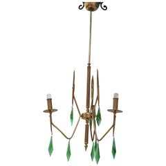 Brass Chandelier with a Murano Handcut Emerald Glass