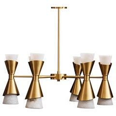 Brass Chandelier with Alabaster Cones by Glustin Luminaires