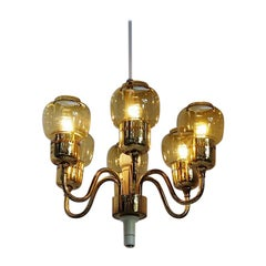 Brass Chandelier with Amber Glass Shades by Swedish Hans Agne Jakobsson, 1960s