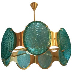 Brass Chandelier With Green Murano Glass Cabochons