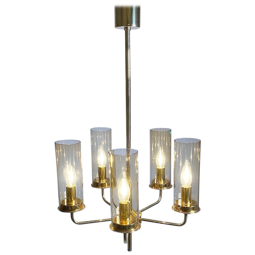 Brass Chandelier with Hand Blown Smoked Glass by Hans Agne Jakobsson, Sweden