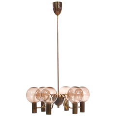 Brass Chandelier with Light Pink Glass Shades by Hans-Agne Jakobsson, 1959