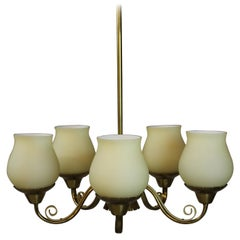 Brass Chandelier with Opaline Glass Shades by Lyfa